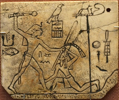 Ivory label depicting the pharaoh Den striking down an Asiatic tribesman (Historystack) Tags: africa earth wars solarsystem bronzeage ancientegypt milkyway sinaipeninsula historyofegypt 30thcenturybc earlydynasticperiodofegypt denpharaoh