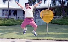 TGIF Jump (JamCanSing) Tags: film rooftop jump nikon kodak ishootfilm tgif portra 50mmf14 shotonfilm portra400 nikonft vivocity kodakphoto