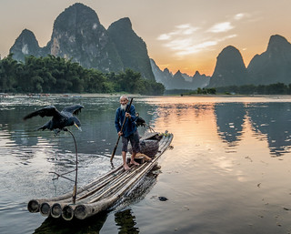 Cormorant fisherman on Li River, China