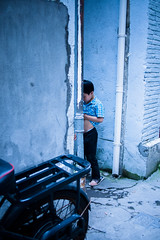 Back alley number 1 (Ordinary_Folk) Tags: life china street film yellow vintage children living backalley child shanghai like system everydaylife childen oldshanghai baoshan shanghaioldstreet 2013 shanghaiblue olympusep2 underthestate capturedaily