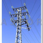 Modern electric tower on blue sky thumbnail