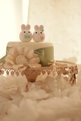 Bunny and Rabbit wedding cake topper (charles fukuyama) Tags: wedding rabbit bunny cake conejo weddingcake egg decoration clay lapin coniglio   weddingcaketopper  customcaketopper animalscaketopper mochiegg