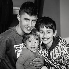 14=12+2 (Gordana AM) Tags: camera family friends light portrait bw canada love boys childhood smiling kids vancouver children square photography three photo hug different photographer bc looking friendship natural brothers britishcolumbia posing monochromatic siblings indoors together age difference older february embrace brotherhood boyhood younger portcoquitlam sons gordana lowermainland 2016 lepiafgeo wwwgordanaphotocom gordanamladenovic