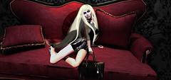 Versace Promises . (Venus Germanotta) Tags: beauty fashion photoshop pose clothing model fierce vanity couch secondlife latex graceful luxury weave versace edit gaga elegance