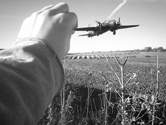 A 28 OTU Wellington takes off... (Go! Cat! Go!) Tags: world training plane war force aircraft air perspective royal 1940s illusion wellington second disused bomber bombs runway raf airfield unit vickers operational 28otu