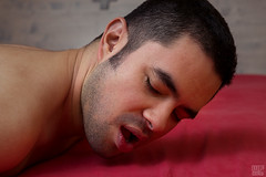 Pleasures (Ugo 05) (WF portraits) Tags: red portrait man male pose naked nude bed eyes closed erotic open lips sensual pleasure scruffy mex