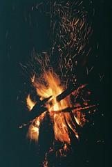 Slow Fire (Rachael.Robinson) Tags: winter light canada color film 35mm island fire flames bonfire fujifilm sparks campobello