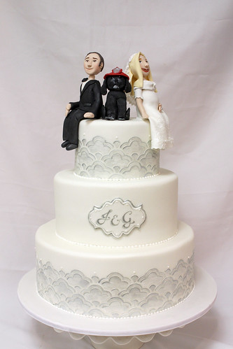 Silver Stencil Wedding Cake with Firefighter Dog
