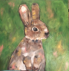 Bunny in a Field (Art by Trish Jones (theOldPostRoad)) Tags: original rabbit bunny art animal painting easter jones farm trish country scene