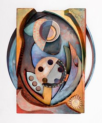 """Lady at her wheel"" Sculptural relief. Oil on wood, plastic and stainless steel. (Justin Barrie Kelly) Tags: sculpture abstract color colour art modern wooden carved colorful assemblage abstractart modernart painted abstraction colourful non sculptural woodcut constructivist cubist constructivism cubism wandobjekt objective wallrelief lowrelief sculpturalrelief foundobjectart nonobjectiveart lyricalabstraction jbkelly justinbkelly justinbarriekelly fujixa1 konstructivismus konstruktivusmus"