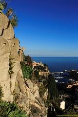 jardin (Chris the Borg) Tags: sea sky mer rock port garden golden view harbour coucher jardin monaco ciel hour fontvieille rocher