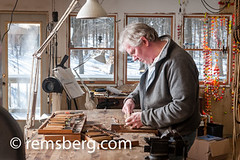 A man working in his studio on a wooden bird carving. (Remsberg Photos) Tags: wood usa man detail bird art studio artist pennsylvania wildlife working craft indoors carver oneperson stahlstown