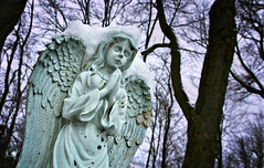 Waiting in Vain (drei88) Tags: life light cold reflection cemetery angel dark death frozen hurt sad riverside empty dreary bleak wandering understanding searching annielennox futile moruning hiramrapids