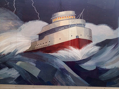 Fitz Art by Voxphoto - I'm a Great Lakes shipping buff; and I could probably tell you more than you ever wanted to hear about sinkings and other tragedies on the lakes. So it was a bit unsettling as I walked down the street to come upon an eight-foot-tall image of the Edmund Fitzgerald battling the waves. Definite bonus points if you can guess where or what this was.