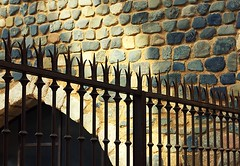 Iron fence. Montblanc. (alika1712) Tags: street old black detail brick art metal wall architecture fence garden design gate iron pattern outdoor decorative background steel weld border decoration style nobody smith security safety sharp ornament tip spike barrier ironwork parallel protection forged lattice feature spiked craftsmanship adornment wrought
