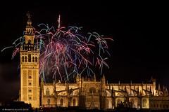 This is Sevilla! (ralcains) Tags: longexposure nightphotography espaa tower sevilla spain torre cathedral fireworks abril catedral feria seville andalucia andalusia giralda fuegosartificiales feuerwerk andalousia largaexposicion fotografanocturna