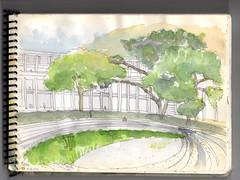 FADU Montevideo (BPM '90) Tags: urban watercolor uruguay sketch university courtyard montevideo acuarela croquis boceto fadu