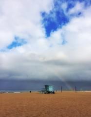 Pretty morning [in Explore] (da's art) Tags: ocean morning sky beach clouds photo rainbow sand beachvolleyball lifeguardtower iphone prettymorning snapseed