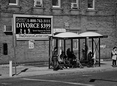 We're Outta Here (raymondclarkeimages) Tags: street people blackandwhite usa monochrome sign corner canon mono outdoor powershot billboard busstop divorce s95 raymondclarkeimages 8one8studios