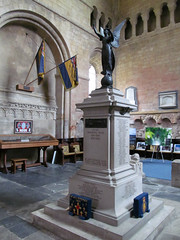 Pershore Abbey, Worcs (pefkosmad) Tags: uk england church abbey statue worship interior holy inside worcestershire banners warmemorial plinth anglican placeofworship churchofengland pershore parishchurch