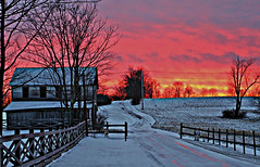 Pink Ice Country Road (billrock54) Tags: old pink blue trees sunset orange reflection classic ice clouds farmhouse garden twilight farm quality surreal infinite fallingwater tranquillity infocus theweatheredroad photosbybillrockwell