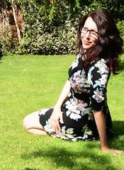 Carmen_2681 (Fast an' Bulbous) Tags: summer england woman plants hot sexy floral girl leaves pose garden hair glasses nikon long dress lawn gimp august babe chick mature 40 brunette milf d7100