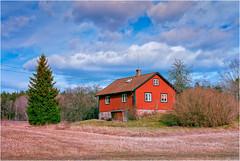 IMG018 (Cyrus II) Tags: blue winter red sky cloud house tree film grass analog forest geotagged asahi pentax takumar sweden stockholm farm dry sverige 1855 sthlm smc sollentuna spf swe spotmaticf sjberg fujifilmfujicolorsuperiaxtra400 fujifilmfujicolorsuperiax geo:lat=5942234547 geo:lon=1799872220