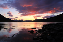 Ballachulish sunset (OutdoorMonkey) Tags: sunset sea cloud color colour reflection beach water evening coast scotland seaside still calm coastal serene seashore ballachulish lochleven