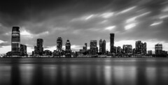 """New Jersey Skyline"" (Mahir Rafi) Tags: longexposure light urban newyork reflection building water night river photography evening blackwhite newjersey cityscape waterfront hudson skyscrapper skyl"