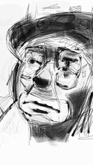 asaph (Boogey Man) Tags: blackandwhite art georgia sketch diy artwork circus contemporaryart modernart digitalart paintings drawings artists clowns wacom ebonypencil