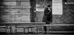 Contemplation (Just Ard) Tags: street people blackandwhite bw white man black blancoynegro monochrome face person photography mono nikon noiretblanc zwartwit candid smoking walkway d750 unposed  biancoenero 24120mm schwarzundweis justard