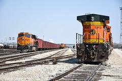 Signs of the times from BNSF. (Machme92) Tags: railroad rail trains row bn rails ge railfan bnsf railroads dash8 railroading railfanning dash9 railfans trainmeet transcon burligrton