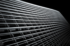 Archistream (Skuggzi) Tags: city uk england urban blackandwhite bw abstract building london tower glass monochrome lines architecture modern facade skyscraper grid office unitedkingdom britain outdoor lookingup lookup gb rectangle futuristic technoir cityoflondon