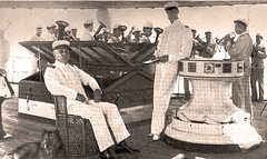 Bob and George enjoying a concert on-board the Olympia in Naples bay - 1899 (SSAVE w/ over 6 MILLION views THX) Tags: dog bob spanishamericanwar 1899 ussolympia georgedewey chinesechow