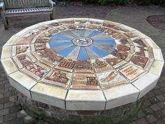 Monmouth Millennium Mosaic (pefkosmad) Tags: china uk art history public wheel wales circle ceramic mosaic millennium monmouth plinth monnowbridge commemoration monmouthshire monmouthtowncouncil