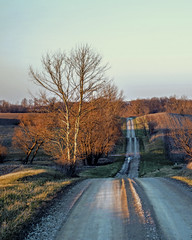 White Cemetery Road (myoldpostcards) Tags: road trees winter sunset rural landscape illinois seasons unitedstates country farming il hills textures fields dirtroad agriculture goldenhour gravelroad whitecemetery centralillinois menardcounty myoldpostcards vonliski