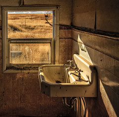 Ablution Solution (garshna) Tags: abandoned window ruins sink neglected basin linoleum faucets urbex viewoutsideofwindow