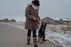 Heel! (Dominic Sagar) Tags: dog pets house cold hat scarf training outside grey boots path walk coat lisa gloves heel zia germanshepherd alsatian command