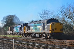 37609 and 37069 pass Berkeley Road Junction on route to Crewe - 11/02/16 (82A Photography) Tags: english electric berkeley flask br diesel main nuclear rail class line locomotive 37 services direct drs 37069 37609