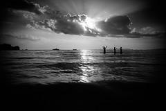 (bendikjohan) Tags: ocean sunset people bw sunlight white seascape black film beach nature weather landscape thailand blw sundown 1600 thai neopan bnw krabi waterscape railay 2016 oceanscape