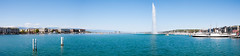 Lake Geneva, Switzerland (SMSidat) Tags: trip travel blue summer panorama lake travelling water fountain landscape boats switzerland nikon europe geneva pano panoramic travelphotography d80