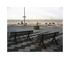 two benches (ha*voc) Tags: urban 120 film beach mediumformat boulevard view rangefinder 6x7 expired zandvoort 80mm urbanfragments mamiya7ii fujinhgii800