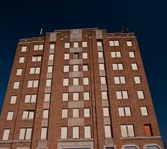Looking Skyward (pam's pics-) Tags: usa brick abandoned architecture america hotel us midwest lodging ks historic kansas smalltown outofbusiness redbrick prattkansas pammorris pamspics nikond5000 parrishhotel