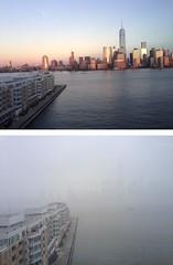same view, different seasons (joujoubee) Tags: city ny view foggy nj sunny
