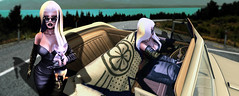 """*Regina George voice* """"Get in Loser We're Going Shopping."""" (SUNEVX) Tags: car leather fashion photoshop work pose drive model fierce style roadtrip gloves secondlife blonde latex vehicle sphynx diva weave edit meangirls edits luxurious"""