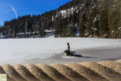 Mummelsee (Dominik.D - Photography) Tags: schnee winter lake snow canon landscape see outdoor bank rope explore mermaid ufer schwarzwald blackforest seil foucs meerjungfrau mummelsee tiefenschrfe doubled canon600d