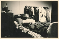 Man snoring on a bed