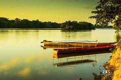 Amanecer en Pto. Rondon (Alfonso Giraldo) Tags: sunrise boat colombia amanecer canoes canoa reflextion llanura arauca llanosorientales llanoscolombianos riocasanare puertorondon