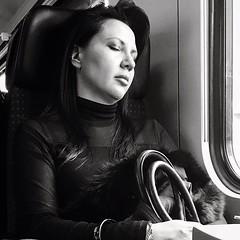 Asleep (Eric_G73) Tags: sleeping portrait people blackandwhite bw woman girl train nap candid streetphotography nb commute asleep sleepingbeauty candidphotography stolenmoment