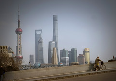 On a Wusong River_bridge (Sichuan N. Road, ): View of a surreal city scape of Shanghai (Charles R. Yang) Tags: china city shanghai highrise pearltower tallbuildings